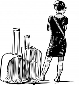woman with the suitcases sketch