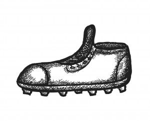 doodle spiked football shoe