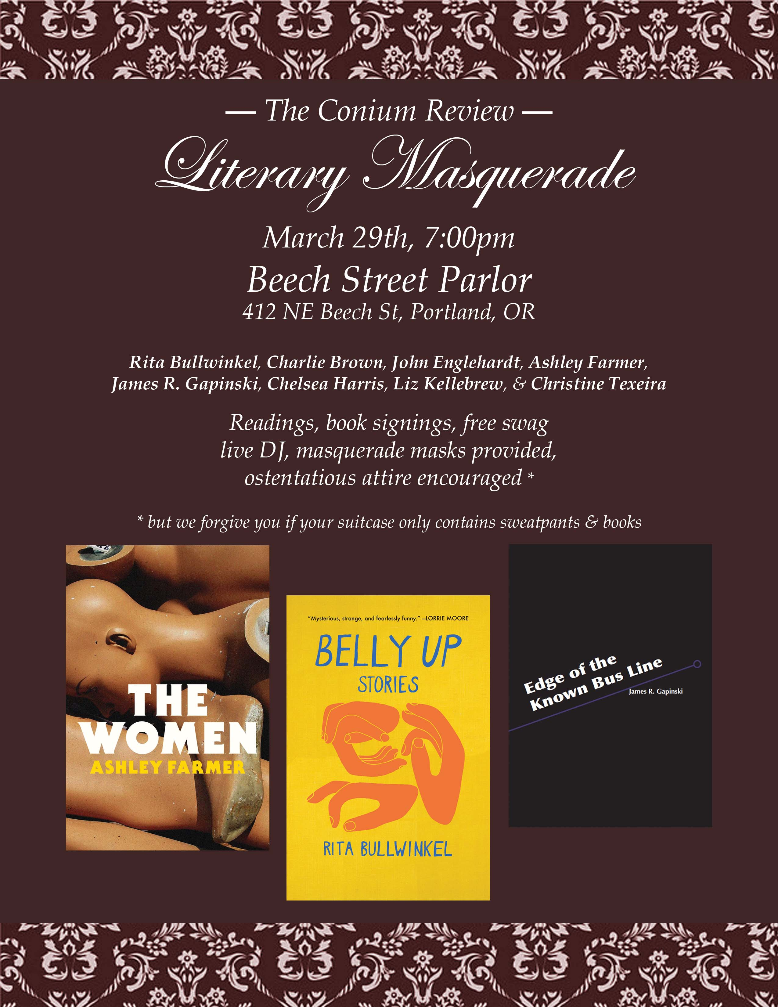 Flyer for Literary Masquerade event